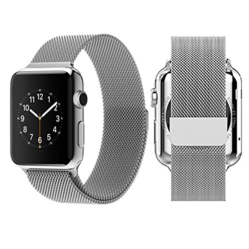 AWSTECH 38mm Milanese Loop Stainless Steel Bracelet Strap Replacement iWatch Band with Magnet Lock No Buckle Needed for Apple Watch All Models - Silver
