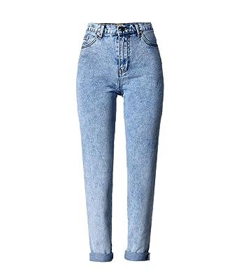 4aadeb2fc3f1 Women s Vintage High Waist Boyfriend Style Denim Cowboy Pants Jeans ...
