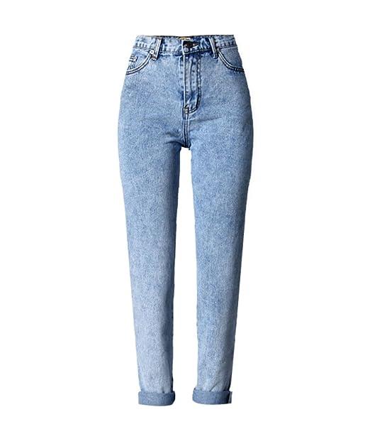 13053908da32f ECHOINE Women's High Waist Loose Fit Solid Straight Leg Jeans ...