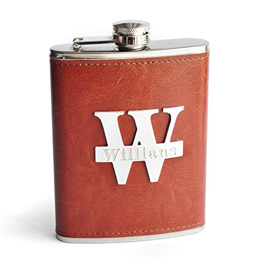 (8OZ Personalized Groomsman Flask, Engraved Flask, Best Man Gift, Monogrammed Leather Flask, Personalized Hip Flask )