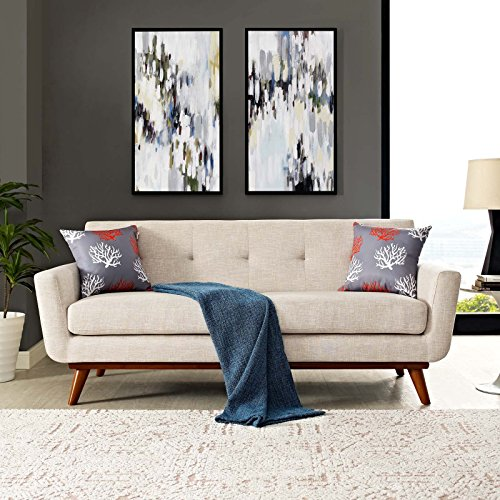 Modway Engage Mid-Century Modern Upholstered Fabric Loveseat In (Set Upholstered Loveseat)