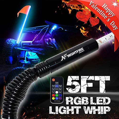 """60/"""" 5FT RGB Lighted 5050 LED Light Whip Quick Release w// Remote Offroad 1Pc A"""