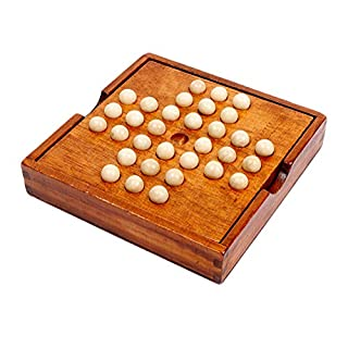 Younglingn Marble Solitaire Chess Game with Natural Solid Wood Wooden Bead Challenge Fun Brain Teaser Suits Leisure Party Game