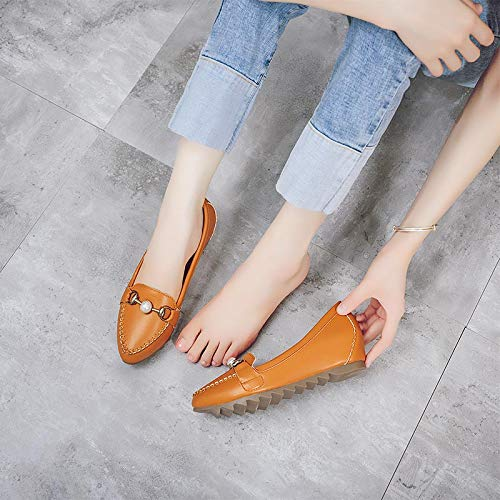 comfort maternity EU Pearl single non shoes casual buckle flat fashion shoes slip ladies FLYRCX shoes 34 pointed 8Owwq