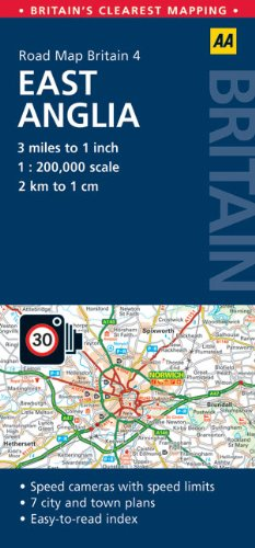 AA Road Map Britain: East Anglia (Aa Road Map Britain Series)
