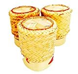 Kai White Orchid Sticky Rice Basket Thai Laos Handmade Bamboo to Keep Sticky Rice Warm (Yellow set of 3) by White Orchid