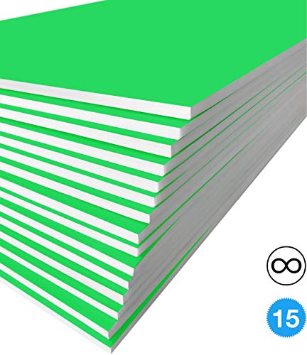 Excelsis Design, Pack of 15, Foam Boards, 20x30 Inches, Green Color (More Colors Available) 3/16 Inch Thick Mat, (Acid-Free Foam Core Backing Boards, Double-Sided - Board Acid Free Mounting Rigid