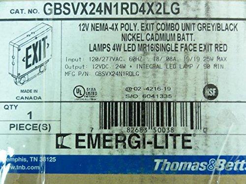 Thomas & Betts GBSVX24N1RD4X2LG Exit Combo Unit, 12V NEMA-4X