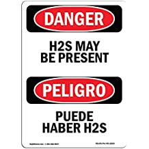 OSHA Danger Sign - H2S May Be Present Bilingual | Choose from: Aluminum, Rigid Plastic Or Vinyl Label Decal | Protect Your Business, Construction Site, Warehouse & Shop Area | Made in The USA