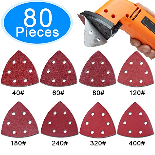 AUSTOR 80 Pieces Triangle Sandpaper Sanding Sheets 6 Holes Hook and Loop Assorted 40/ 60/ 80/ 120/ 180/ 240/ 320/ 400 Grits for Sanding and Polishing (Sheets Sanding Ryobi)