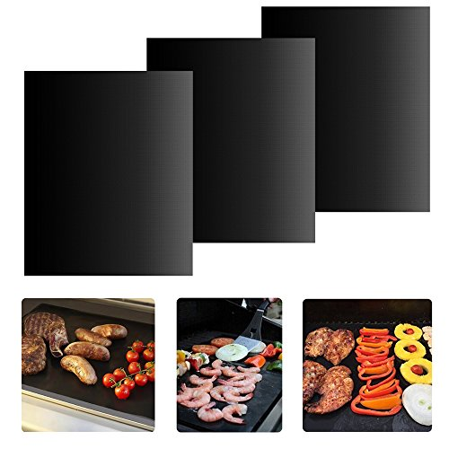 BBQ Grill Mat - Set of 3 Non-stick Grill Mats Reusable Grilling Mats Dishwasher Safe Barbecue Utensil for Meat Biscuit Baking by iLOME (Portable Egg Washer compare prices)