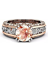 18K Rose Gold & Silver Two Colour Ring 10mm Round Cut Topaz CZ Ring Size 5-10