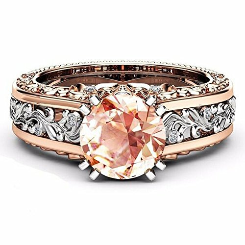 10mm Round Cut Rose & White Gold Plated Champagne & White Topaz Bridal Engagement Two Tone Gold Ring Size 5-10 (Champagne, - Rose 5 Gold Stone