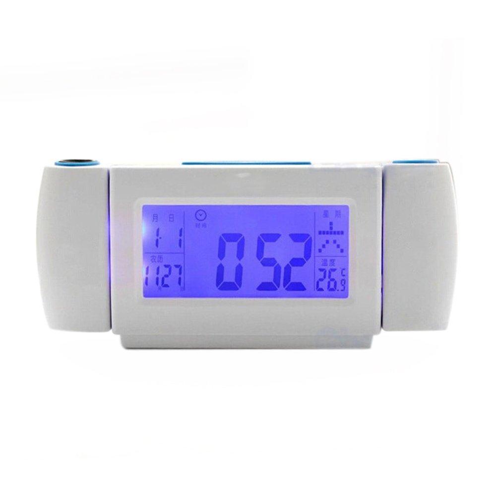 LEORX Proiezione Sveglia Controllo audio Dual rotanti lente (Snooze, retroilluminazione a LED, data, temperatura)