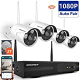 [Full HD]Wireless Security Camera System,SMONET 4CH 1080P Wireless Video Security System with 2TB HDD(WIFI NVR KIT),4pcs 1080P Indoor/Outdoor Wireless IP Cameras,P2P,65ft Night Vision,Easy Remote View For Sale