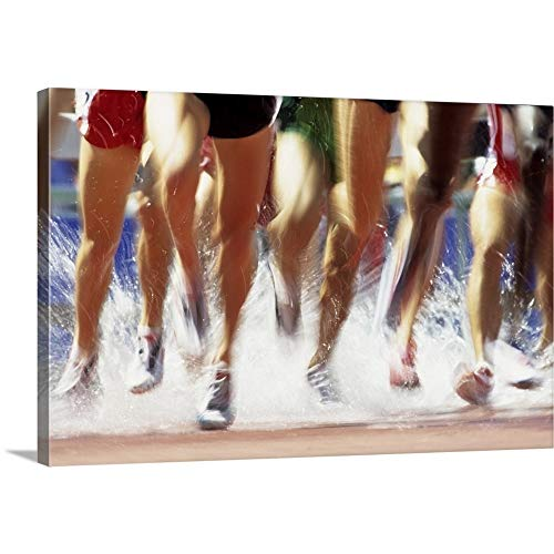 GREATBIGCANVAS Gallery-Wrapped Canvas Entitled Runners' Legs Splashing Through The Water Jump of a Track and Field Steeplechase Race by Paul J. Sutton 24