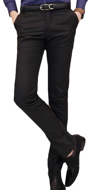 Comfy Men Slim Fit Casual British Style Solid Flat Front Suit Pant