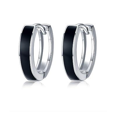 8dda27d7d 925 Sterling Silver Black Hoop Earrings for Mens,Small Hoops Earrings  Hinged Sleeper Earrings Huggie