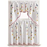 GOHD - Daisy Swing 3pcs Kitchen Curtain/Cafe Curtain/Swag & Tiers Set, Air-Brushed by Hand of Daisy & Butterfly Design on Thick Satin Fabric