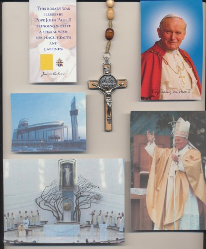(Saint Benedict Three Inch Crucifix Beige Rosary Blessed by Pope John Paul II on 8/17/2002 in Krakow Poland with Gold Satin Bag, Pictures of Mass, Mysteries and Vintage Polish Holy Card of PJP Plus Memorial, Free Cross Bookmark Included)