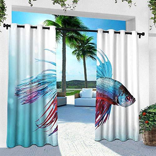 (Outdoor Curtain Panel for Patio, Aquarium Siamese Fighting Betta Fish Swimming in Aquarium Aggressive Sea Animal 3D Printed Pattern Curtains Drapes ( Sky Blue Dark Coral, 63 x 84 Inches ))