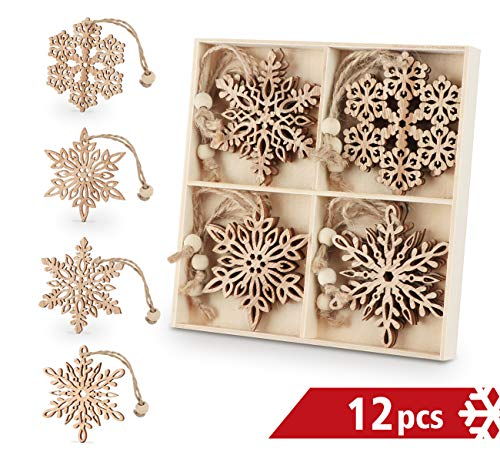 ilauke Wooden Snowflakes 3 inch Christmas Ornaments Wood Hanging Decorations Rustic Tree Crafting, Pack of 12 (Christmas Burlap Primitive Wreaths)