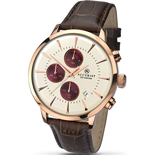 Accurist Mens Brown Leather Strap Watch with a Cream Dial 7034.01