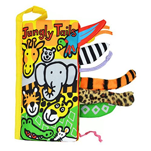 - E-SCENERY Newest Non-Toxic Soft Book with Cute Animal Tails, Baby Cloth Book Kids Early Learning Educational Toys 8×4.5 Inch (Jungle tails)