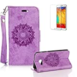 For Samsung Galaxy J5 (2017 Model) Case [with Free Screen Protector], Funyye Classic Premium Folio PU Leather Wallet Magnetic Flip Cover and [Credit Card Holder Slots] Mandala Flower Patterns Design Protective Case Cover for Samsung Galaxy J5 (2017 Model)-Purple