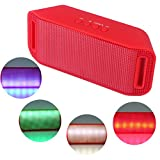 HDE Bluetooth Speaker Wireless LED Light Up Mini Portable Music Player for Smart Phone Tablet PC (Red)