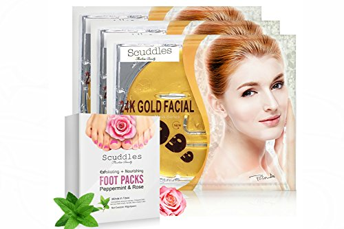 Upgraded 2018 Exfoliating Nourishing Foot Packs- Includes 4 Pairs Of Scented Peppermint & Rose Foot Gloves , Peels off Callus and Dead Skin, BONUS 3 Pack Of 24K Gold Collagen Gel Masks Sheets