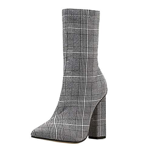 Cenglings Women Lattice Print Ankle Boots, Sexy Zip Up Pointed Toe Thick High Heels Slim Boot Party Shoes