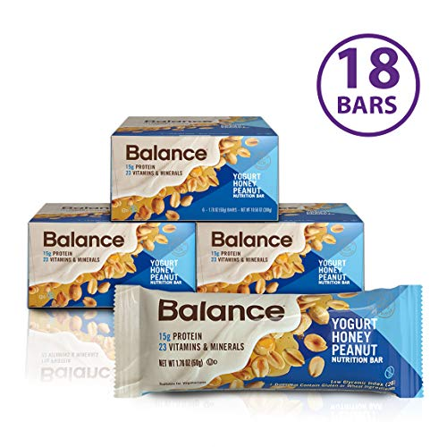 Balance Bar, Healthy Protein Snacks, Yogurt Honey Peanut, 1.76 oz, Pack of Three 6-Count Boxes