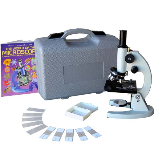 AmScope M60A-BTK Beginner Microscope Kit, Mirror Illumination, WF10x and WF16x Eyepieces, 40x-640x Magnification, Includes Case, 5 Blank Slides, 5 Prepared Slides, and - Mirror Lens United Blanks