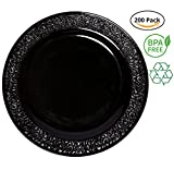 Party Joy 'I Can't Believe It's Plastic' 200-Piece Plastic Dinner Plate Set | Lace Collection | Heavy Duty Premium Plastic Plates for Wedding, Parties, Camping & More (Black)