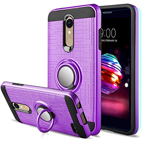 LG K30 Case,LG Phoenix Plus/LG Harmony 2/LG Premier Pro/LG K10 2018 Case with HD Screen Protector,Anoke Cellphone 360 Degree Rotating Ring Holder Kickstand Drop Protective Cover ZS Purple