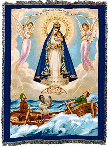 Pure Country Weavers Our Lady of Charity El Cobre Blessed Virgin Mary Woven Tapestry Blanket Cotton USA 72x54 (T De Cobre)