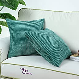 Pack of 2, CaliTime Throw Pillow Covers 18 X 18 Inches Both Sides, Comfortable Soft Corduroy Corn Striped, Teal