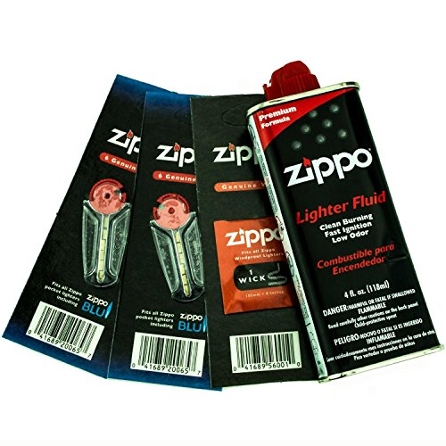 Price comparison product image ZIPPO Lighter Fluid 1 Wick Card & 2 Flint Card (12 Flints) Gift Set,  4 oz