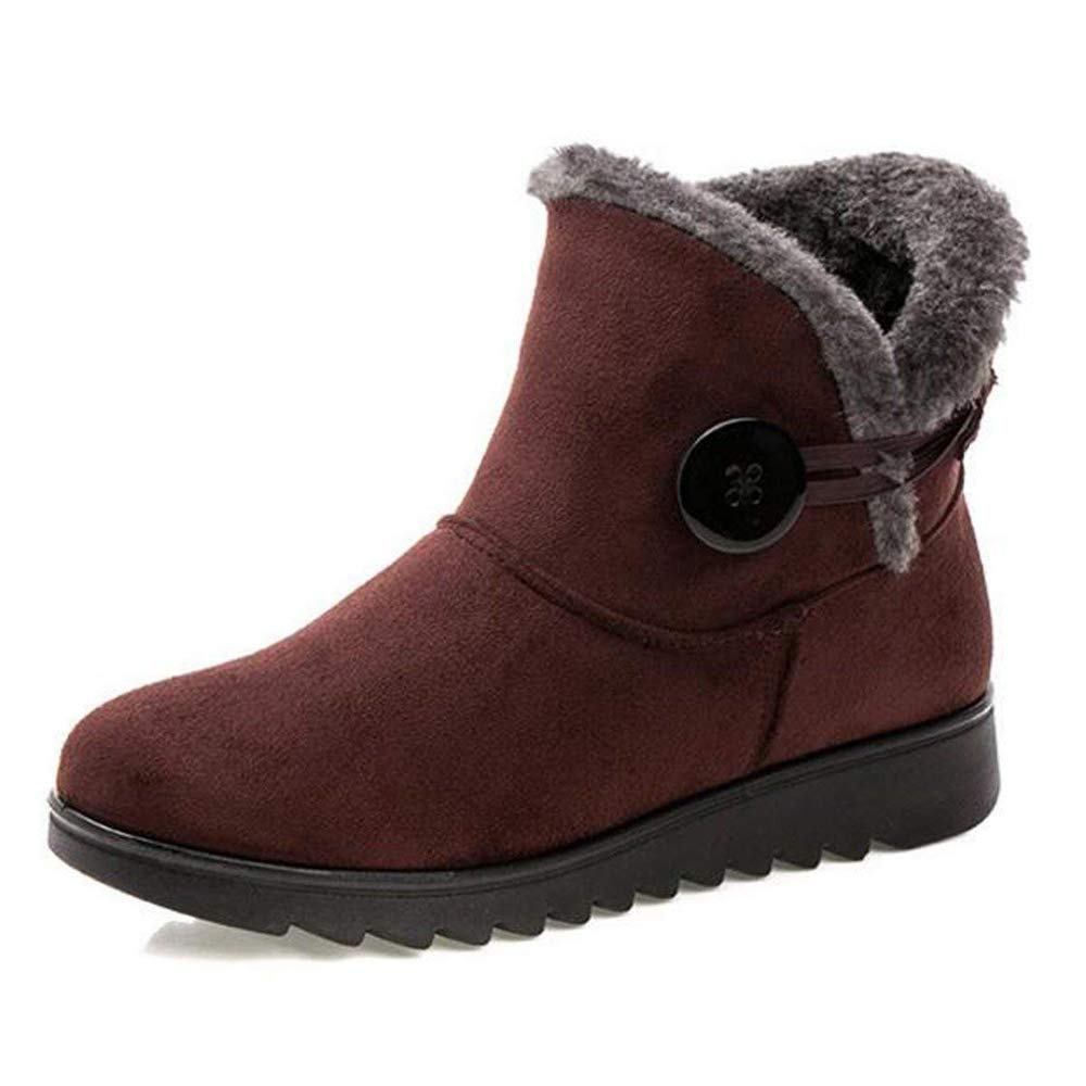 EISHOW Fashion Fur Lined Womens Snow Boots Warm Flock Winter Button Pull On Footwear Ankle Booties Cotton Shoes (Wine Red, US 5)