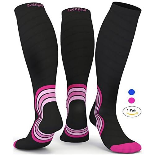 1e9937130c Graduated Compression Socks for Men Women - Best Travel Flight Socks -  Running Athletic Support Ski