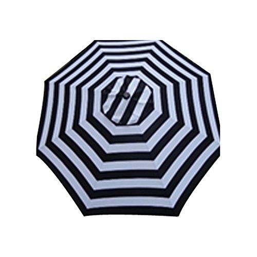 Comfy Hour 9′ Stripes Market Umbrella, Cabana Black & White