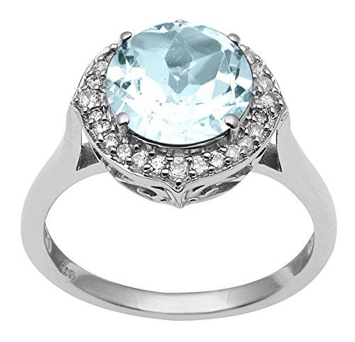 Banithani 925 argent incroyable bague en pierre de topaze bleue femmes mode indien bijoux
