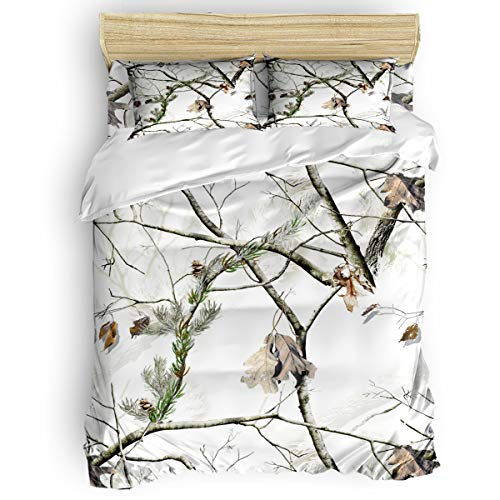 Big buy store White Realtree Camo 4 Piece Duvet Cover Set, Autumn Season Bedding Cover for Childrens/Kids/Teens/Adults,Queen Size