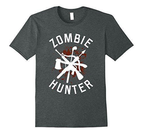 Make Witch Hunter Costume (Mens Funny Zombie Halloween Costume T-shirt - Zombie Hunter Shirt XL Dark Heather)