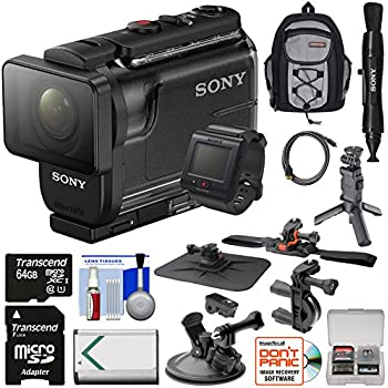 Sony Action Cam HDR-AS50R Wi-Fi HD Video Camera Camcorder & Live View Remote with VCT-STG1 Shooting Grip Tripod + Action Mounts + 64GB Card + Battery + Backpack + Kit