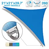 Patio Large Sun Shade Sail 21' x 21' x 30' Right triangle Heavy Duty Strengthen Durable Outdoor Canopy UV Block Fabric A-Ring Design Metal Spring Reinforcement 7 Year Warranty -Blue