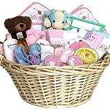 Welcome Baby! Newborn Baby Girl Gift Basket -Pink Deluxe