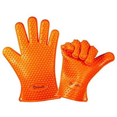 Vervetie Barbecue Gloves Heat Resistant Silicone Cooking Gloves for Grill BBQ - Oven Mitts Potholder for Kitchen, Baking