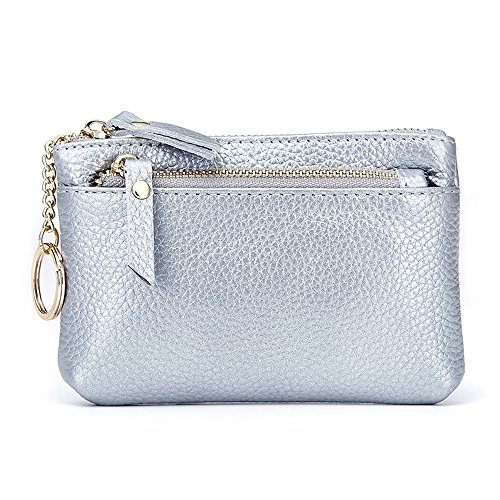 - Aladin Leather Coin Purse with Key Chain - Triple Zipper Card Holder Wallet Silver